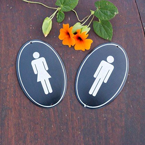 Antikas - Toilettenschilder aus Emaille, WC-Schilder im Set, Mann und Frau, oval