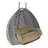Home Deluxe Polyrattan Hängesessel aus KORB - Twin XXL inkl. Sitz- und Rückenkissen