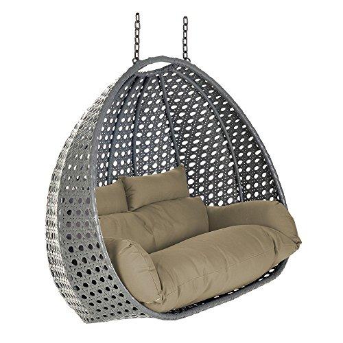 Home Deluxe Polyrattan Hängesessel KORB Twin XXL   inkl. Sitz- und Rückenkissen   grau