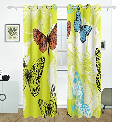 Bennigiry 2 pannello set beautiful butterflie oscurante tenda termica window drapes solid grommet 55 da 213,4 cm multi, poliestere, multi#002, misura unica