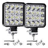 LTPAG LED Arbeitsscheinwerfer, LTPAG 2 X 48W Zusatzscheinwerfer 6000K Weiß IP67 Wasserdicht Offroad Scheinwerfer Arbeitslicht mit 16 LEDs 9V-30V