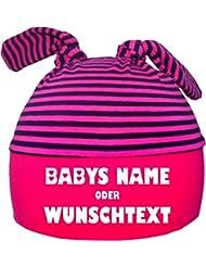 mitwachsende Baby - und Kinder Mütze mit Ihrem Wunschtext / in 7 Designs / Größen 0-36 Monate