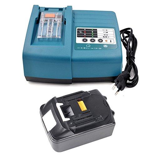 Preisvergleich Produktbild Akku und Ladegerät für Makita Werkzeugakkus BL1830 3,0Ah 18V Li-Ion Ersatz DC18RA DC18RC 194337-6