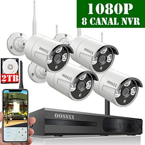 wachungskamera Set System Videoüberwachung CCTV 1080P NVR Rekorder Überwachungskamera Outdoor Mit 4 1080P Innen/Außen IR Nachtsicht Bewegungsmelde,Kamera Durch OOSSXX, 2TB HDD ()