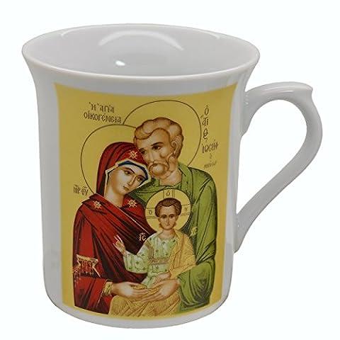 Tasse Icône religieuse Sainte Famille - Tasse en porcelaine imprimée des deux côtés, 8,5x10cm