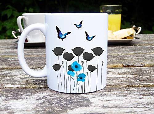 Alicert5II Becher und kundengerechte Mohnblume und Blaue keramische Klassische oder magische personalisierte Schalen des Schmetterlinges