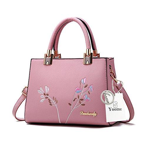 Borse eleganti di Tote del manico di ricamo di Yoome per le donne casuali nuove borse Chic Crossbody - Nero Rosa