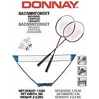 Juego de bádminton de DANNAY con red, 2 raquetas y 2 bolas de bádminton, práctico maletín de transporte, montaje rápido, altura de uso: aprox. 1,55 m, ancho de red: aprox. 2,95 m