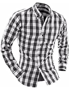 Hombres camiseta de manga larga casual fresco enrejados y camisa de manga larga