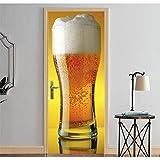 Türaufkleber Biere Tasse 3D Wandbilder Wandaufkleber Türaufkleber Tapete Aufkleber Home Decoration 77x200 cm