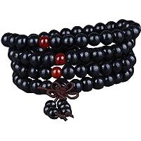 Preisvergleich für Gosear Männer Frauen Holz Buddhistischen Gebet Perlen Halskette Kette Armbänder Bestehen der 108 Perlen 6 mm 400...