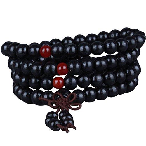 Gosear Männer Frauen Holz Buddhistischen Gebet Perlen Halskette Kette Armbänder Bestehen der 108 Perlen 6 mm 400 Zoll Bead Durchmesser (Für Einen Mann Gebete)