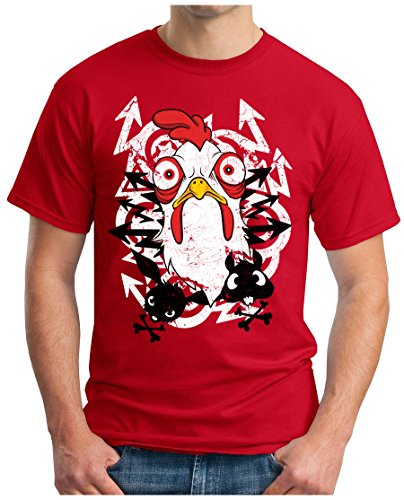 OM3 - ANGRY-CHICKEN - T-Shirt GEEK, S - 5XL Rot