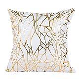 Cushion Cover, Manadlian 2017 New Gold Foil Print Fresh Pillow Case Sofa Waist Throw Cushion Cover Home Car Sofa Decor 45*45cm (45*45cm, White 3)