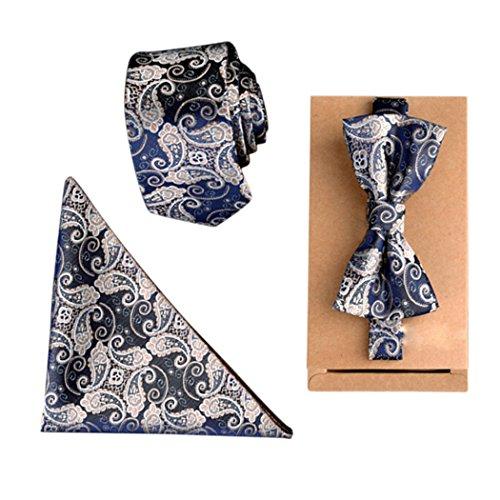 Fascigirl Mens Fliege Set, Herren Krawatte Set Business Tie Hochzeit Krawatte mit Einstecktuch und Geschenkbox