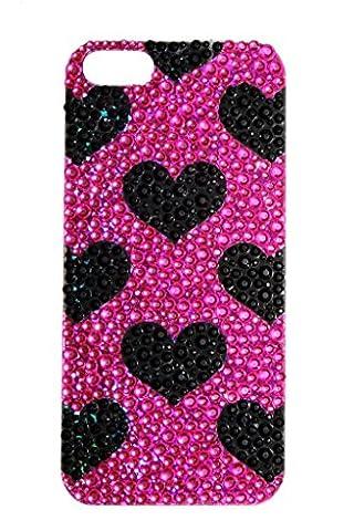 iPhone 5/5S Schwarz Lux Zubehör Handy Tasche Strass Herz Pink Sticker (Tan Perlen Set)