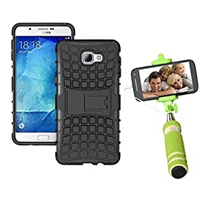 Droit Shock Proof Protective Bumper back case with Flip Kick Stand for Samsung A9 + Mini Pocket Selfie Stick with Aux cable by Droit Store.