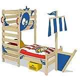 WICKEY Abenteuer-Bett CrAzY Bounty Kinderbett 90x200 Spielbett für Kinder mit Lattenboden, Spielpodest und Schiffanbau, blau