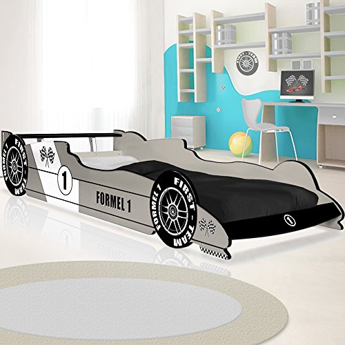 Kinderbett Autobett Rennbett Spielbett Kindermöbel Bett F1 Formel 1 Jugendbett Jugendliege Juniorbett Auto Bettliege Bettgestell Kinderzimmer ✔95x40x230 cm ✔inkl. Lattenrost ✔Holz ✔silber schwarz