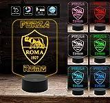 Forza Roma Lampada led luce da notte 7 colori Idea regalo gadget calcio compleanno a batteria + cavo micro USB da tavolo o scrivania