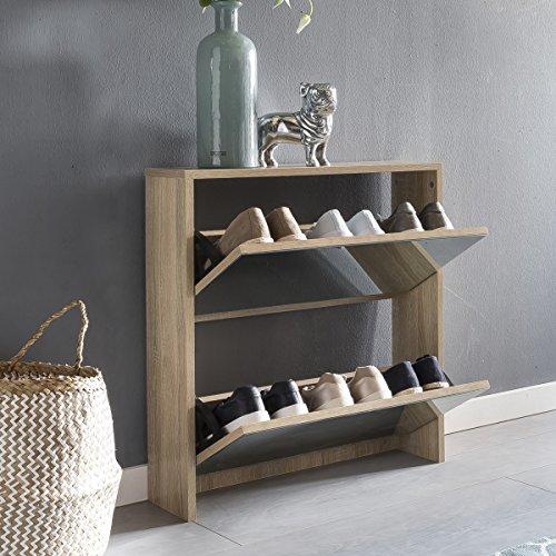 FineBuy Schuhkipper NIKI 2 Klappen Sonoma mit Spiegel 63x67x17 cm Schuhschrank Holz | Schuhkommode...