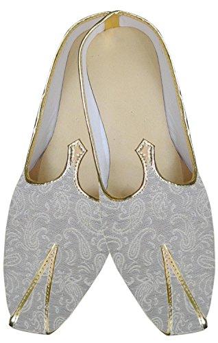inmonarch Herren Marvelous mojari indischen Hochzeit Silber Weiß Schuhe mj179 Silver-white
