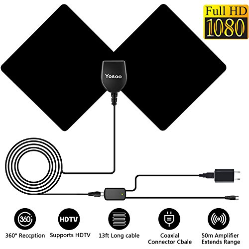 TV Antenne, HDTV 1080P Verstärkte Antenne DVB-T/DVB-T2 Digitale Fernseher Antenne, Ultra-Dünne Zimmerantenne 50 Meilen Reichweite mit Signalverstärker 13.1 Fuß Koaxialkabel (Schwarz)