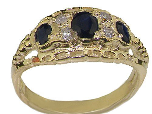Solid 9ct Yellow Gold Natural Sapphire & Cubic Zirconia CZ Eternity Band Ring - Size Z - Sizes J to Z Available (Gold Solid Cz-band 14k Yellow)