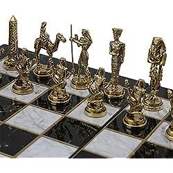 GiftHome (sólo Piezas de ajedrez Históricas Hechas a Mano Egipcio faraón Figuras de ajedrez de Metal tamaño Mediano King 3.5 Inc (Tabla no está incluida)