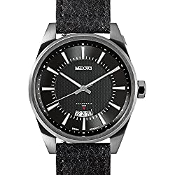 MEDOTA Grancey Men's Automatic Water Resistant Analog Quartz Watch - No. 2602 (Silver/Black)