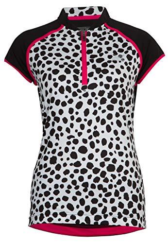 TAO Sportswear Atmungsaktives Damen Funktions T-Shirt mit Reißverschluss Zip Shirt Black dots 42 -