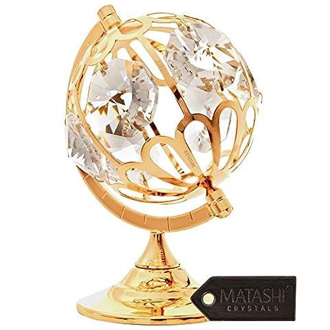 24K plaqué or Décoration avec globe en cristal par matashi®