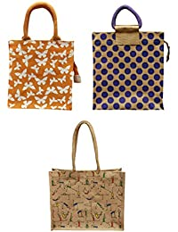 ARIHANT MARKETING Jute Lunch Bags Colour May Vary Reusable (AM001-002-003, Pack Of 3)