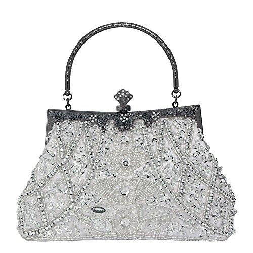 d9941a2955e29 Damen Vintage Style Handtasche Perlen Pailletten Abendtasche Hochzeit  Handtasche Clutch Geldbörse Silber