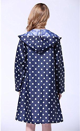 Donne Rainwear Impermeabile Pioggia Moda Giovane Manica Lunga Con Cappuccio Tasca Stampa Polka Dots Fashionable Poncho All'Aperto Escursionismo Raincoat Pioggia Trench Poncho Blu