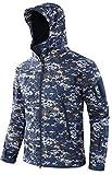 Sodhue Giacca Softshell da Uomo Giacca 3 in 1 Resistente all'Acqua Abbigliamento Tattico Militare Giacca Funzionale Camouflage con Cappuccio Regolabile Giacca Impermeabile Antivento per Sci Montagna