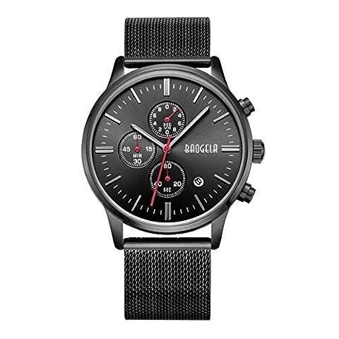 Uhren Männer Schwarz Edelstahl Mesh Armband Schwarz Zifferblatt Herren Uhr Chronograph Datum Wasserdicht - AIMAL