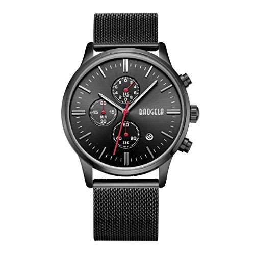 Uhren Männer Schwarz Edelstahl Mesh Armband Schwarz Zifferblatt Herren Uhr Chronograph Datum Wasserdicht - AIMAL (Replik Uhren Männer)