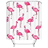Qile 180 x 180cm Duschvorhang, Anti-Schimmel 100% Polyester Badewanne Duschvorhänge, 3D Effekt und Digitaldruck, Wasserdicht mit 12 weißen Haken (Mehr als nur Flamingos)