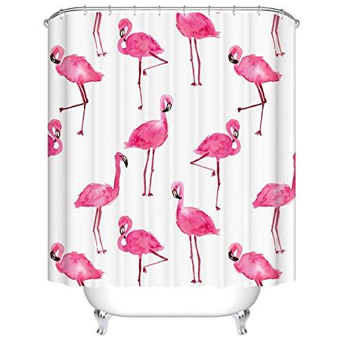 Qile 180 x 180cm Duschvorhang, Anti-Schimmel 100% Polyester Badewanne Duschvorhänge, 3D Effekt und Digitaldruck, Wasserdicht mit 12 weißen Haken (Mehr als nur Flamingos) (Flamingo Duschvorhang)