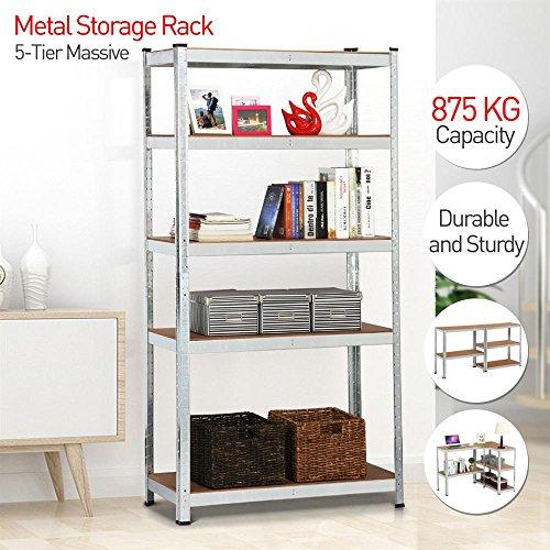 Popamazing 180x 90 x 40 cm Heavy Duty 5 Tier Unit Shelf Garage Racking Warehouse Boltless Storage Garage Shelving