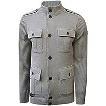 Mens Dissident Brooke Cardigan Knitted Funnel Neck Jacket Button Up Jumper