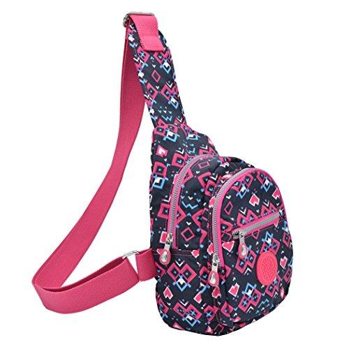 Toklong Sling borsa impermeabile moda spalla petto Pack, Maple leaves Rose red