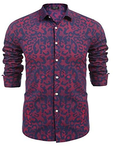 Burlady Hawaiihemd Herren Baumwolle Print Langarm T-Shirt Modisch Party Club Urlaub