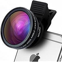 Lente para Móvil, TURATA 2 in 1 de Lentes kits Universal Macro lente 12,5 x , Gran Angular Lens 0.45 X para iPhone 6s/6s Plus, iPhone 6/6 Plus, iPhone 5/se/5S, Samsung, HTC y Todos los Smartphones Negro