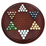 Shalinindia Handmade Wooden Chinese Checkers Game Set With Glass Marbles - Board Games For Families - Great Kids Gift Idea