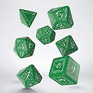 Q Workshop Elvish Green & White RPG Ornamented Dice Set 7 Polyhedral Pieces