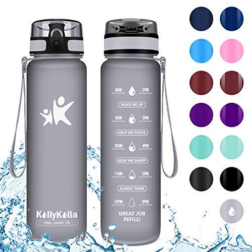 KollyKolla Botella Agua Sin BPA Deportes - 1L, Reutilizables Ecológica Tritan Plástico, Bebidas Botellas con Filtro & Marcador de Tiempo, para Gimnasio, Tapa Abatible de 1 Clic, Gris Mate