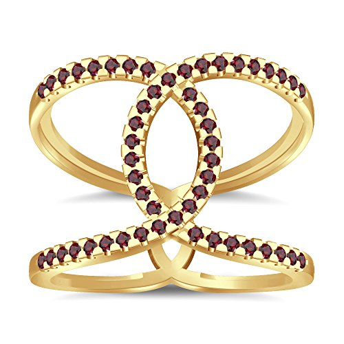 Silvernshine Halo Twist Red Garnet CZ Diamond Engagement Ring 14k Yellow Gold Plated Bridal Ring