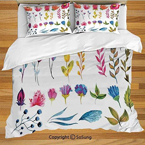 Soefipok Blumendekor Bettwäsche Bettbezug Set, Aquarell Dekor Blumen Tulpen Rosen Farbige Blätter Garden Design Print Dekorative 3-teilige Bettwäsche Set mit 2 Kissenbezügen, Multicolor -